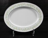 "Noritake Savannah Platinum Rim Oval Serving Platter 11.5"" Floral 2031"