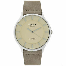 Omax Men's Colton Silver Dial Rustic Brown Leather Strap Seiko Epson Movement