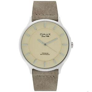 Omax Men's Colton Silver Dial Rustic Brown Leather Strap Seiko Epson Movement