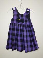 Kelly's Kids Toddler Girl's Purple Black Plaid Dog Sleeveless Romper Dress Sz 2