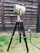 Tripod Lamp Nautical Spot Light Floor/Table Lamp Wooden Tripod  Search Light