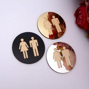 Mirror Round Toilet Door Sign Men Women Bathroom Wc Black Gold Silver Acrylic