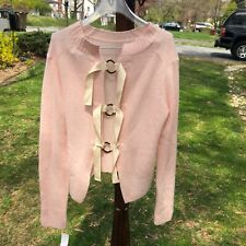 Derek Lam IO Crosby Pink Cashmere Pullover Sweater w/ Back Ring Detail
