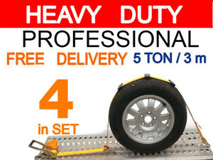 Recovery Ratchet  HI-VIS ORANGE Over Wheel Safety 5 ton 3 m x 50 mm - 4SET