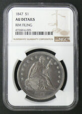 1847 SEATED LIBERTY DOLLAR *AU DETAILS* SCARCE DATE $1 ORIGINAL PATINA COIN