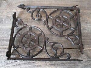 2 Cast Iron Ship Wheel Nautical Braces Shelf Bracket RUSTIC Corbels Vintage Book