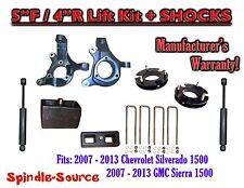 "2007 - 2016 Chevy Silverado GMC Sierra 1500 5"" / 4"" Spindle 2WD LIFT KIT+SHOCKS"