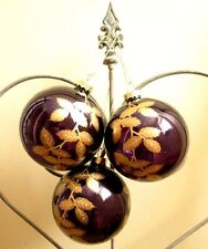 GISELA GRAHAM Christmas mercury glass baubles SET of 3  purple & gold leaves