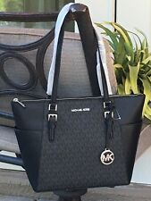 MICHAEL KORS CHARLOTTE CIARA LARGE TOTE SHOULDER BAG MK BLACK SIGNATURE LEATHER