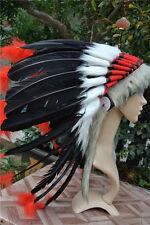 Black indian feather headdress indian war bonnet for halloween costume decor