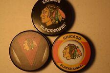 Chicago Blackhawks Hat Trick 3 Official NHL Licensed Pucks  Basic-Stitch-Retro