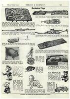 1961 PAPER AD Mechanical Toys Wind Up Sheriff Monkey Dancing Sam Panda Bear