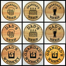 Beer and Whiskey Coasters Dad Grandad Family Friends Beer Mat