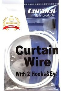 Duralon White Window Net Curtain Wire Cord Cable 9, 8, 6 , 4 , 3 Ft