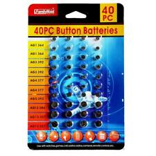 364 392 377 389 386 357 Lot 40pc Button Cell Coin Battery Alkaline Assorted Size