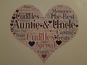 auntie and uncle word art birthday christmas anniversary gift