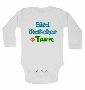 Bird Watcher in Training - New Long Sleeve Cotton Baby Vests for Boys, Girls