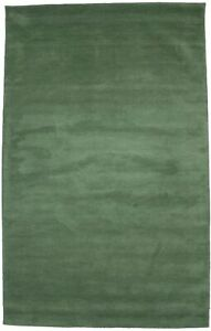Green Solid Design Modern 5X8 Wool Hand-Tufted Rug Contemporary Wool Carpet