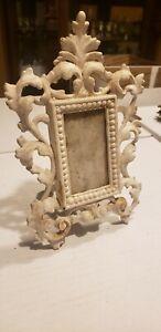 "Picture Frame Antique Victorian Ornate Cast Metal Easel Back 8""H"