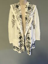 Biya Hooded Open Cardigan Sweater Coat  Cotton Floral Embroidered Size Small