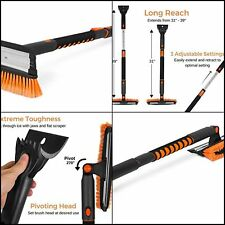 """Snow Brush with Squeegee & Ice Scraper 39"""" Extendable Car Truck Winter Cleaner"""