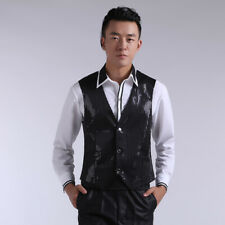 Men Sequin Waistcoats Vest Button V-neck Shiny Glitter Chorus Dance Costume