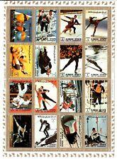 AJMAN 1972 OLIMPIADI 16 francobolli in foglio pattinaggio bob slalom ecc.