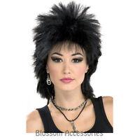 W282 80s Rock Idol Black Disco Diva Costume Punk 1980 Rocker Wig