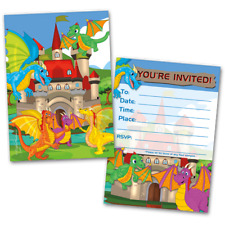 20 Kids Party Invitation Cards Dragons Themed and 20 Envelopes