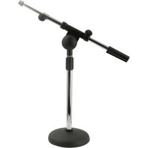 Pied de MICRO de Table avec Perche Telescopique Chrome et Embase Lourde