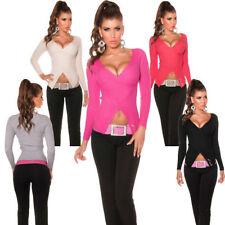 Koucla Damen-Pullover mit V-Ausschnitt