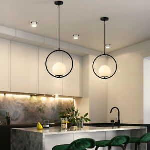 Glass Pendant Light Kitchen Lamp Black Chandelier Lighting Modern Ceiling Lights