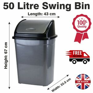 Large Plastic 50 Litre Swing Bin Rubbish Kitchen Home Office With Swing Lid Grey