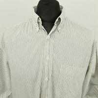 HUGO BOSS Mens Vintage Shirt XL Short Sleeve Grey Classic Fit Striped Cotton