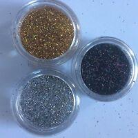 3 x 5ml FINE COSMETIC HOLOGRAPHIC GLITTER-SILVER/GOLD/BLACK FESTIVAL tattoo nail