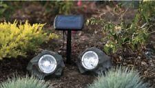 4Pack Smith&Hawken Outdoor Solar Powered Rock Spotlight Walkway LED Garden Path