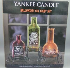 New Yankee Candle Witches Toad Black Cats Potions Tea Light Holders, Set of 3