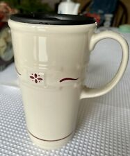 Longaberger Pottery Travel Mug With Lid Classic Red Woven Traditions Coffee Cup