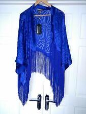 Biba Cobalt Deco Burnout Fringed Kimono Jacker/Shrug Cruise NWT  One Size