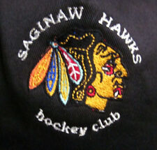 SAGINAW HAWKS defunct hockey hat IHL 1980s vtg Blackhawks beat-up baseball cap