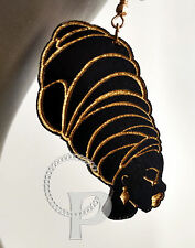Laser cut wooden earrings African woman head wrap in black and gold  large