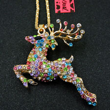 Deer Women Sweater Chain Necklace Betsey Johnson Multicolor Crystal Cute Sika