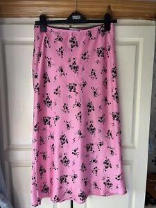 Topshop Pink Floral Slip Midi Skirt UK 10