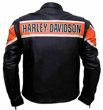 Men Real Genuine Cowhide HD Harley Davidson Motorcycle Biker Leather Jacket