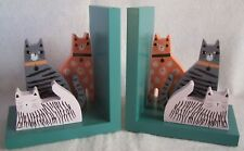 Gisela Graham Wooden CATS Kittens Bookends Set In Grey Display Box IDEAL GIFT