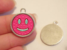 5 smiley face enamel charms pink pendant beads jewelry making wholesale UK