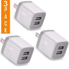 USB Wall Charger, 3-Pack 2.1A/5V Dual Port USB Plug Wall Power Adapter Fast
