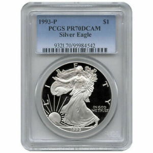 1993-P Proof American Silver Eagle One Dollar Coin PCGS PR70 DCAM