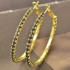Around Black Cubic Zirconia 9k solid gold filled Ladies Hoop Earrings F4545
