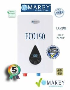 Electric Tankless Water Heater Best 3.5 GPM 220V 14.6kW Marey ECO150